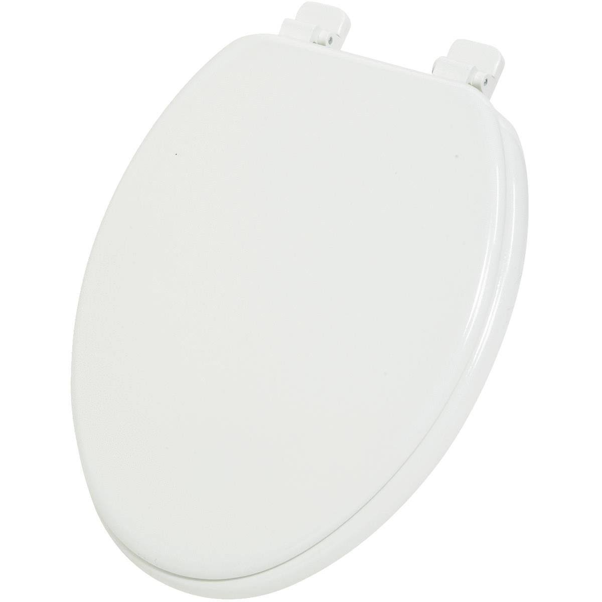 Plumbing Technologies 1F1R6-00BN Premium Molded Round Front Wood Toilet Seat - With Brushed Nickel Metal Hinges, White