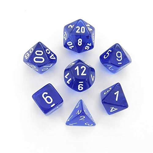 Chessex - Translucent Polyhedral Blue/White 7-Die Set