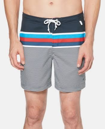 Original Penguin Men's Stripe Swim Trunks Dark Sapphire