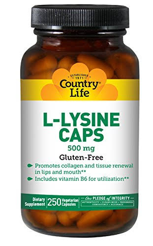 Country Life L-lysine Vegetarian Capsules - 500mg, with b-6, 250ct