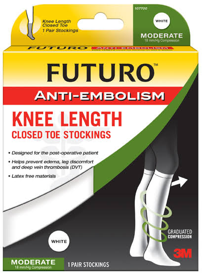 Futuro Anti-Embolism Knee Length Closed Toe Stockings - White