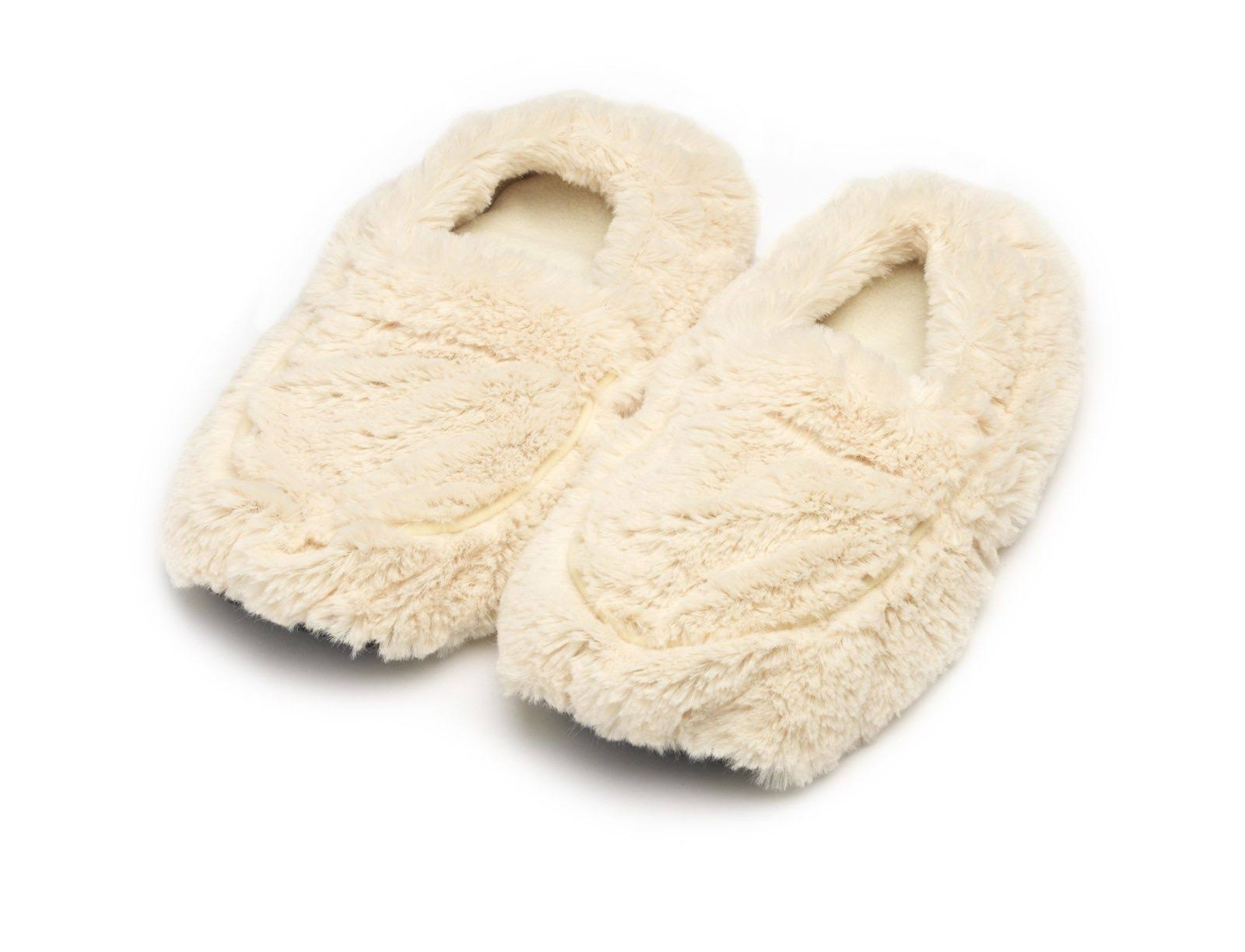 Furry Warmers Fully Microwavable Furry Slippers - Cream