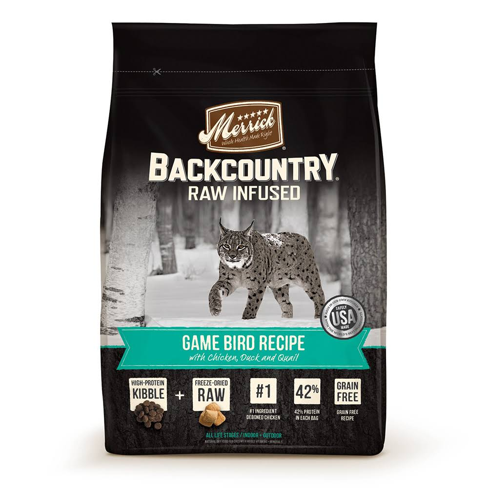 Merrick Backcountry Raw Infused Cat Food - Game Bird Recipe, 10lbs