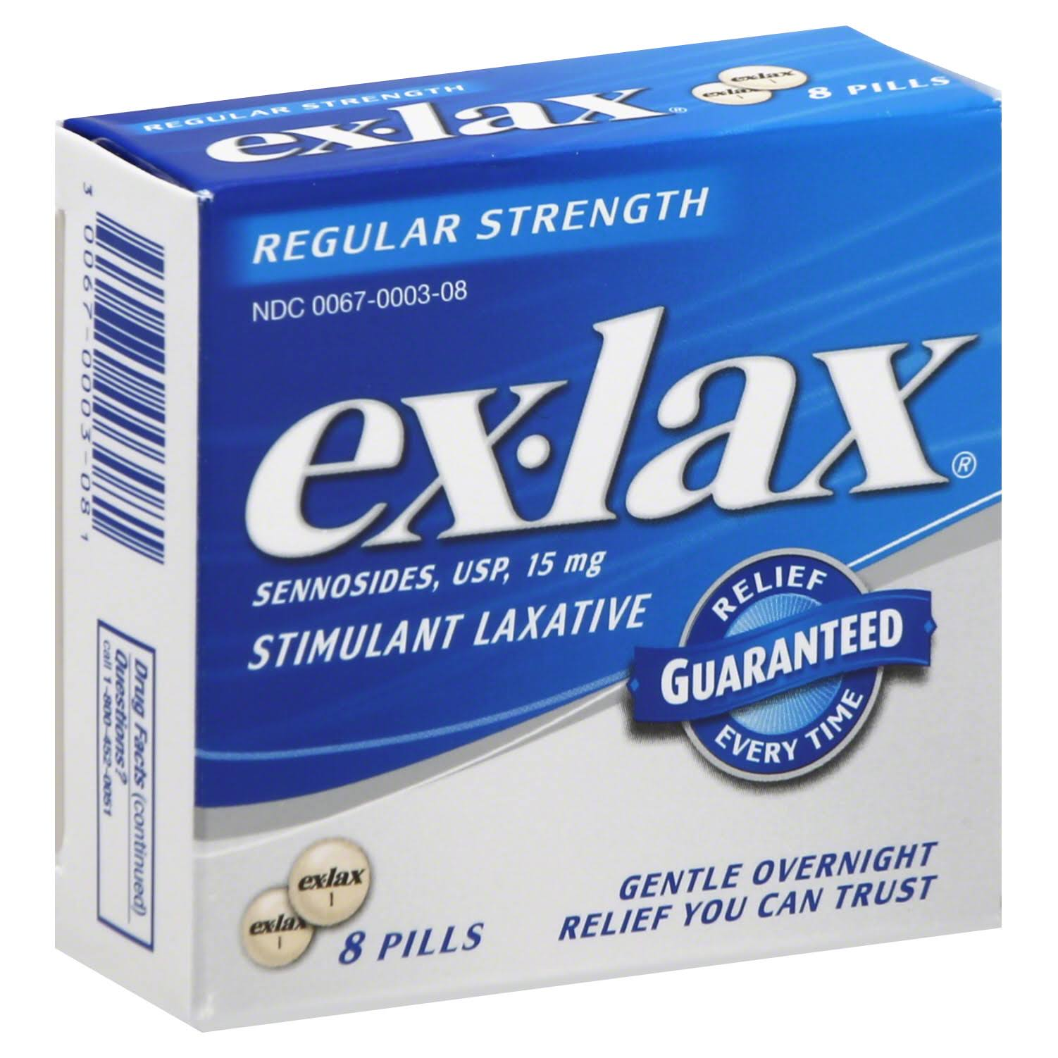 Ex-Lax Sennosides USP Regular Strength Stimulant Laxative Pills - 8 Pills, 15mg