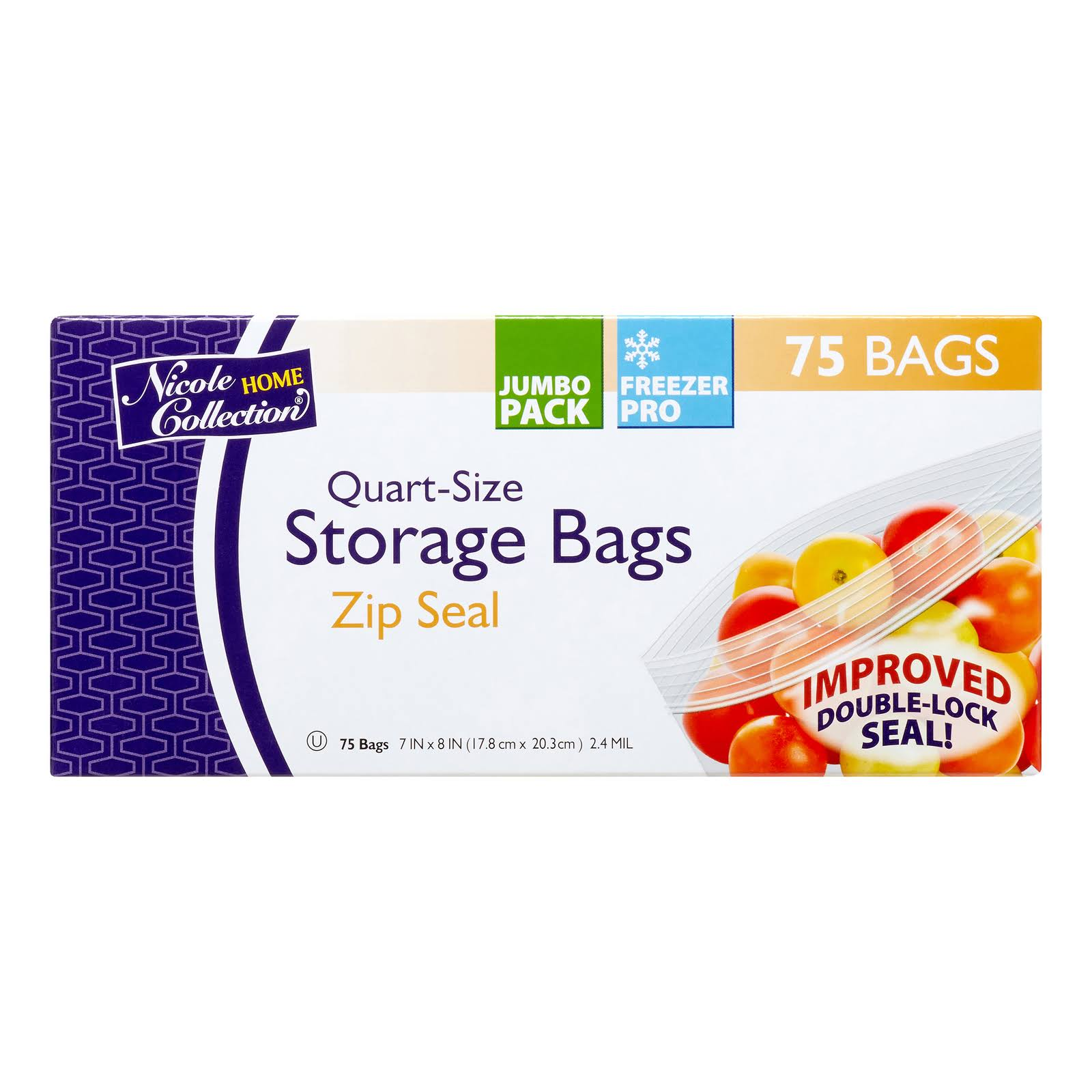 Nicole Home Collection Storage Bags Zip Seal - 75 Bags