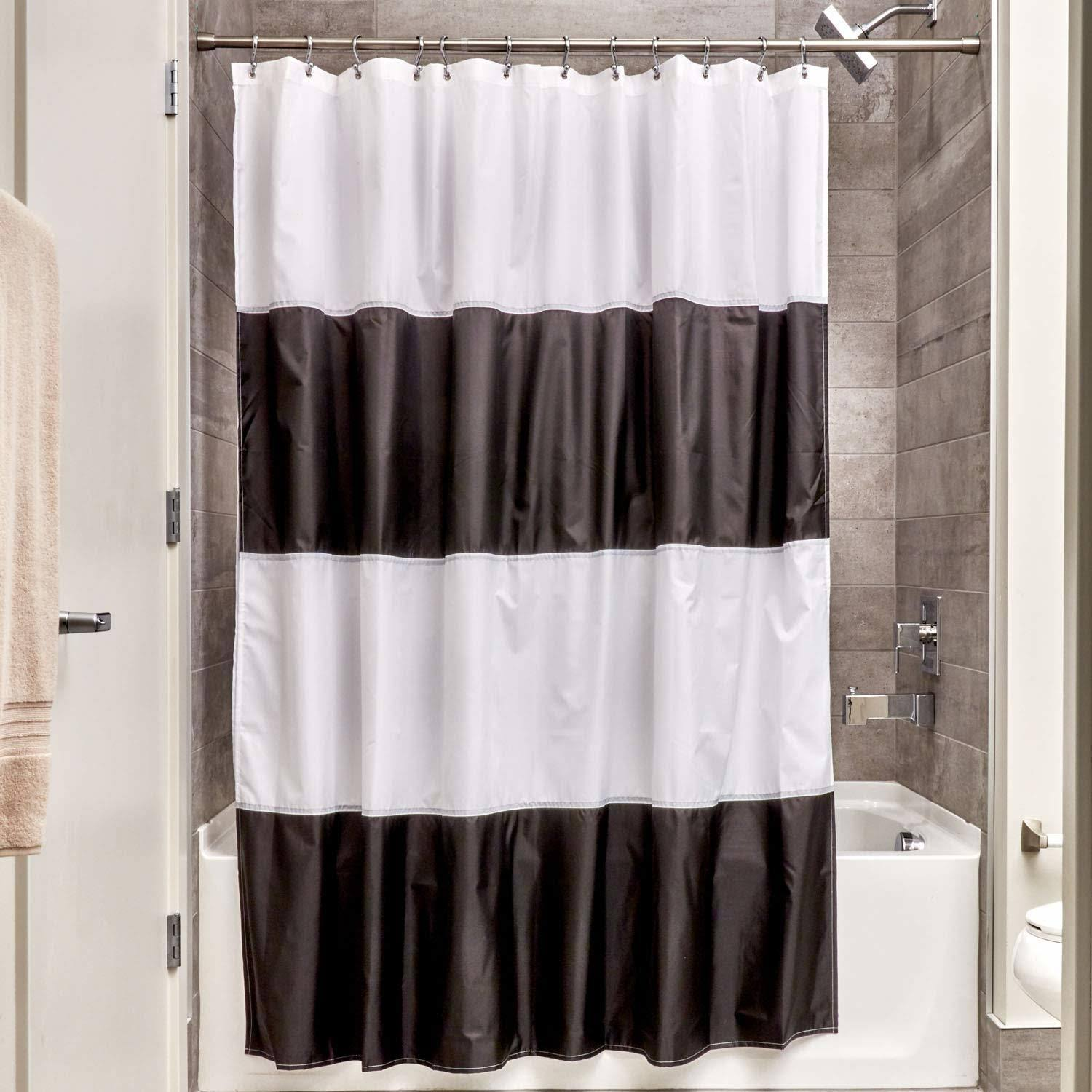 InterDesign Zeno Waterproof Shower Curtain Liner - Black/White, 180cm x 180cm