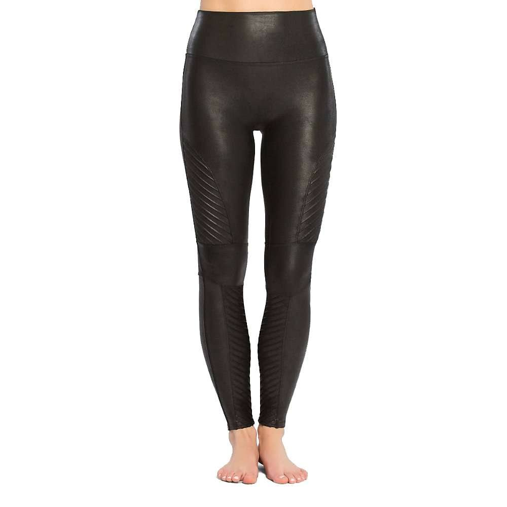 Spanx Very Black Faux Leather Moto Leggings