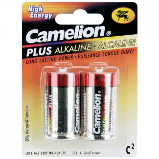 Camelion Plus Alkaline Batteries - 2 Pack, Size C