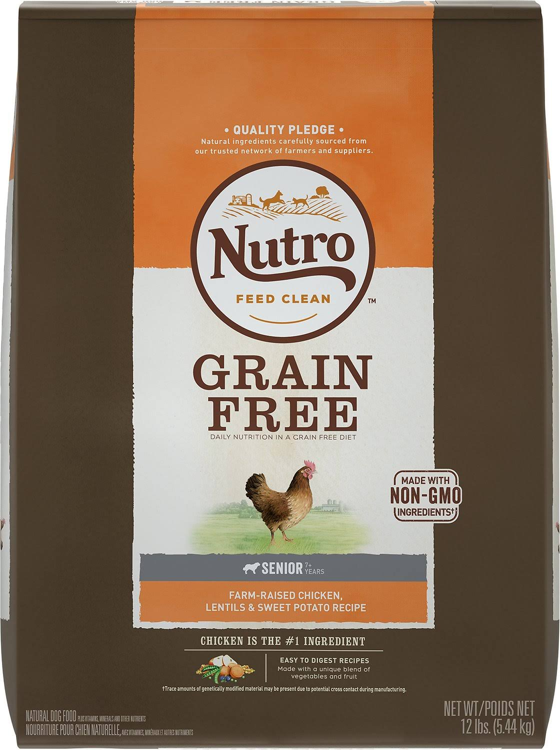 Nutro Grain Free Senior Dog Food - Chicken and Lentils Recipe, 12lb