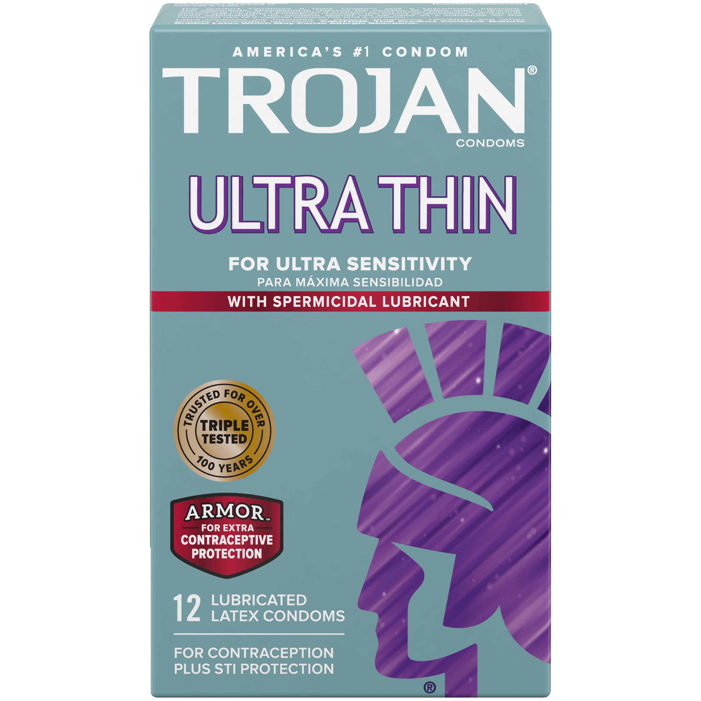 Trojan Ultra Thin Premium Latex Condoms - 12 ct