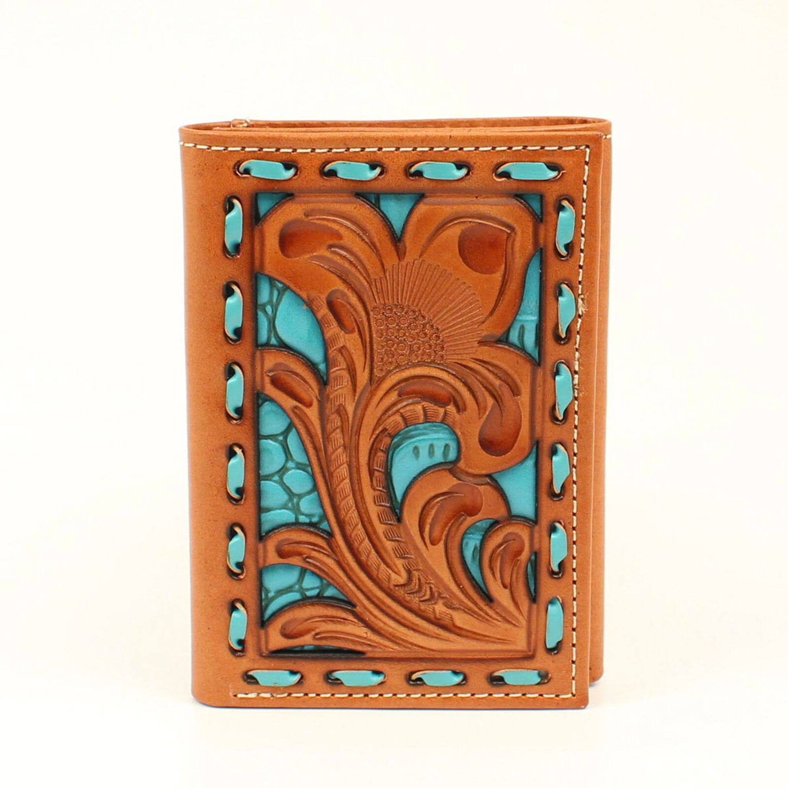 Nocona Trifold Wallet Embossed Underlay Tan/Turquoise