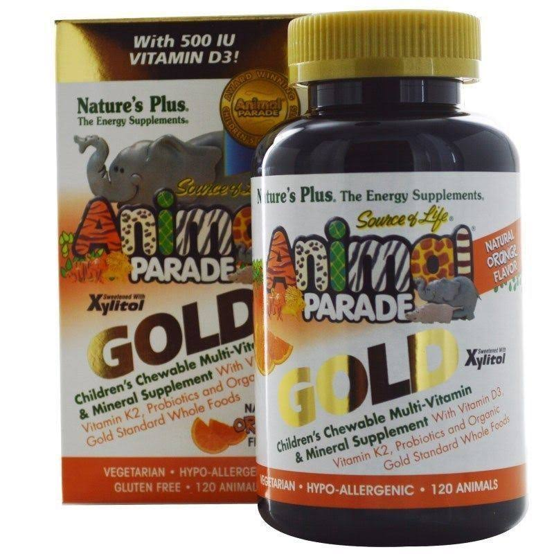 Nature's Plus Sol Animal Parade Gold-Children's Multi-Vitamin & Mineral Orange Flavor - 120 - Chewable