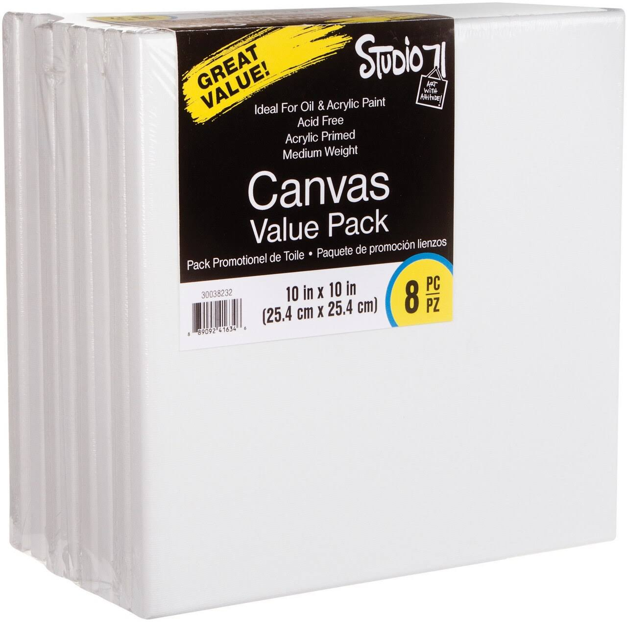 "Studio 71 Stretched Canvas Value Pack 8/Pkg 10""x10"""