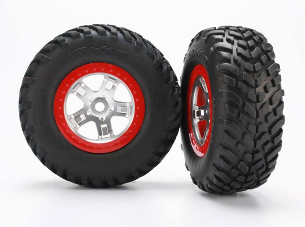 Traxxas 5973R S1 Mounted Racing Tire (2) 14mm Hub Front / Rear Slayer