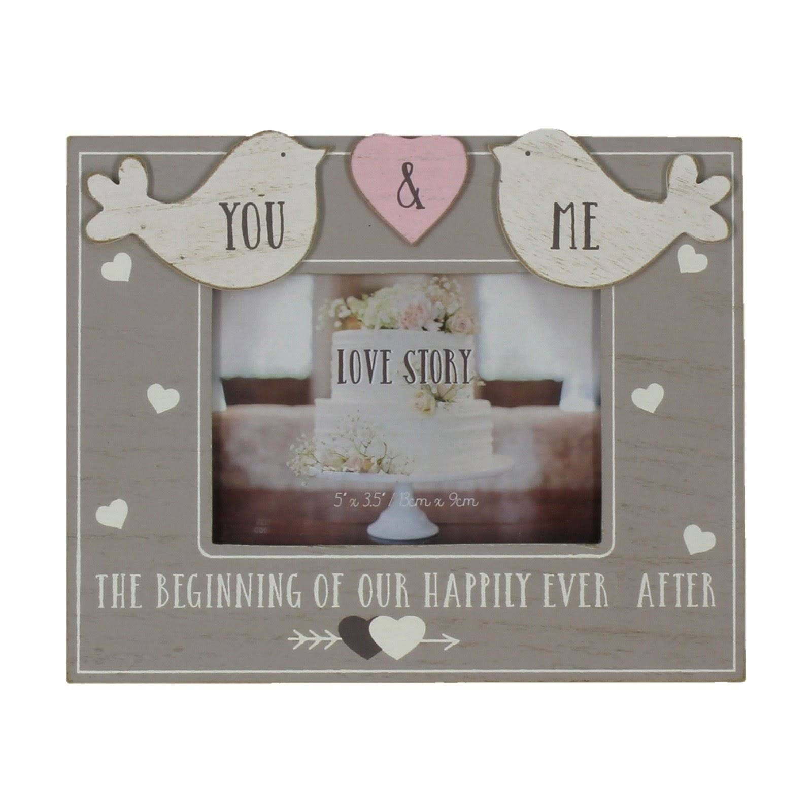 Love Story Love Birds Happily Ever After Photo Frame