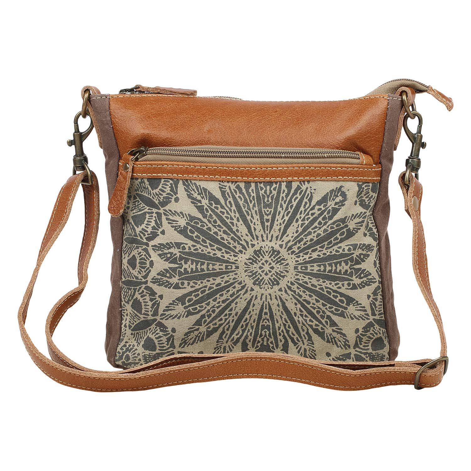 Myra Bag Dizzy Circle Upcycled Canvas & Leather Small Crossbody Bag S-1556