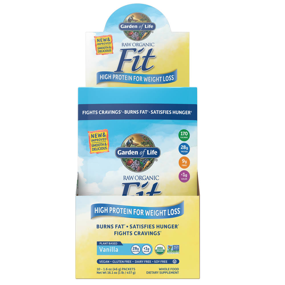 Garden of Life Raw Fit Protein Tray Powder - Vanilla, 10 Count
