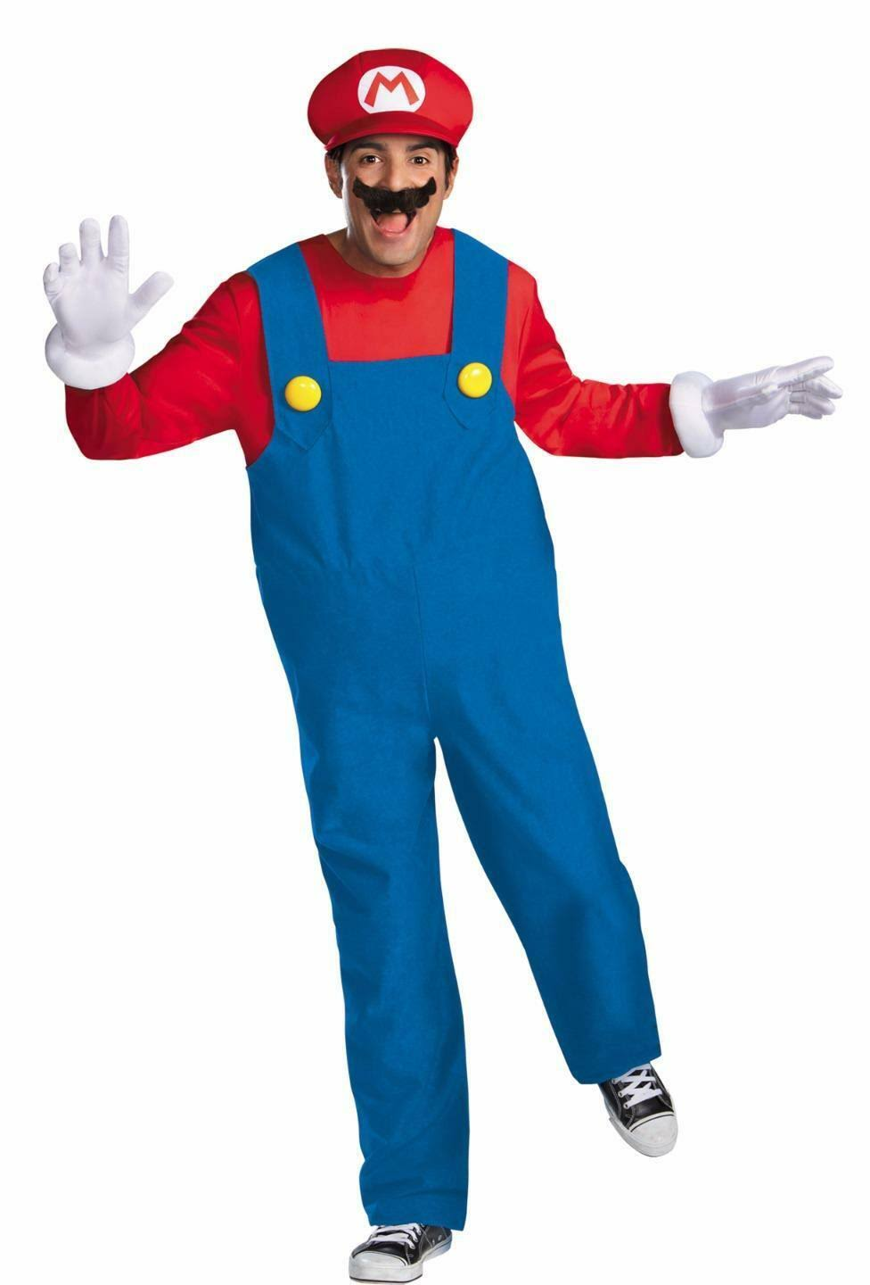 Disguise Super Mario Deluxe Men's Costume, Red/Blue, Size 2XL