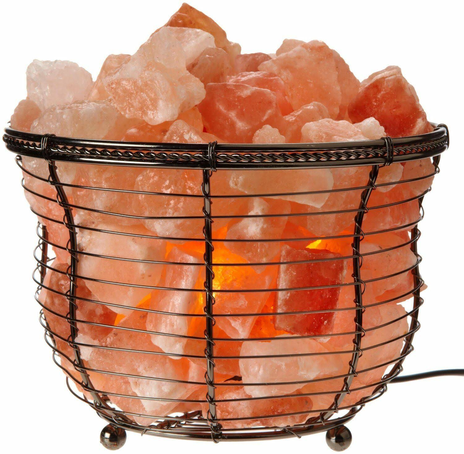 Wbm HImlayan Rock Salt Basket Lamp - Pink, 6.75""
