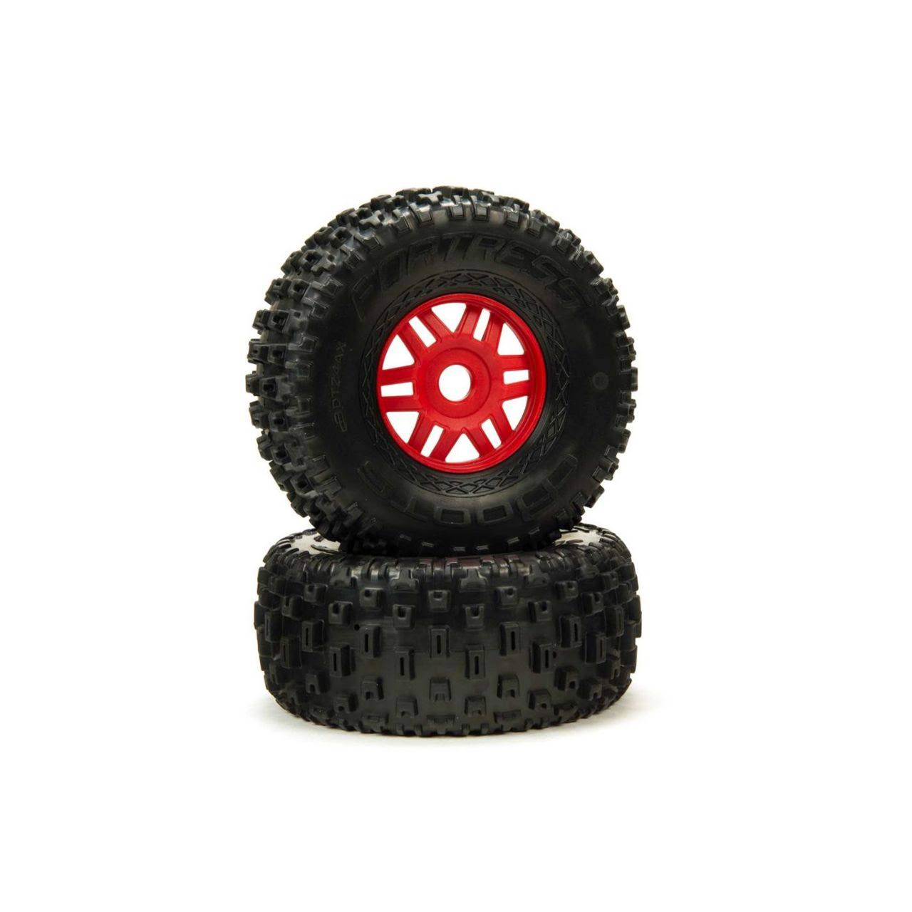 Arrma dBoots 'Fortress' Tire Set Glued - Red ARA550065