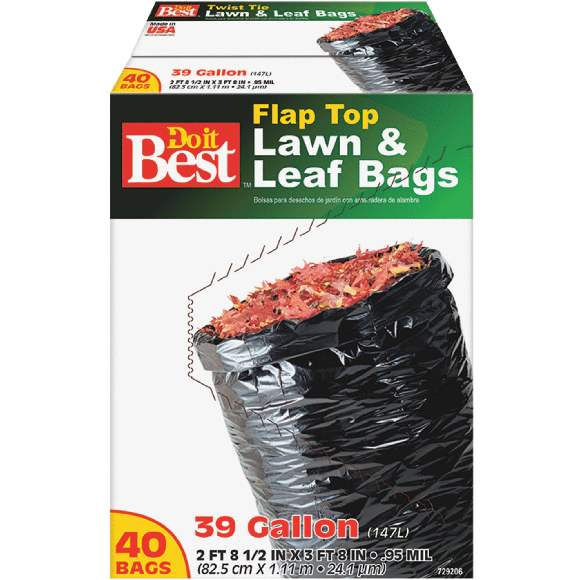 Do it Best Lawn & Leaf Bag - Black, 39 gal, 40 Bags