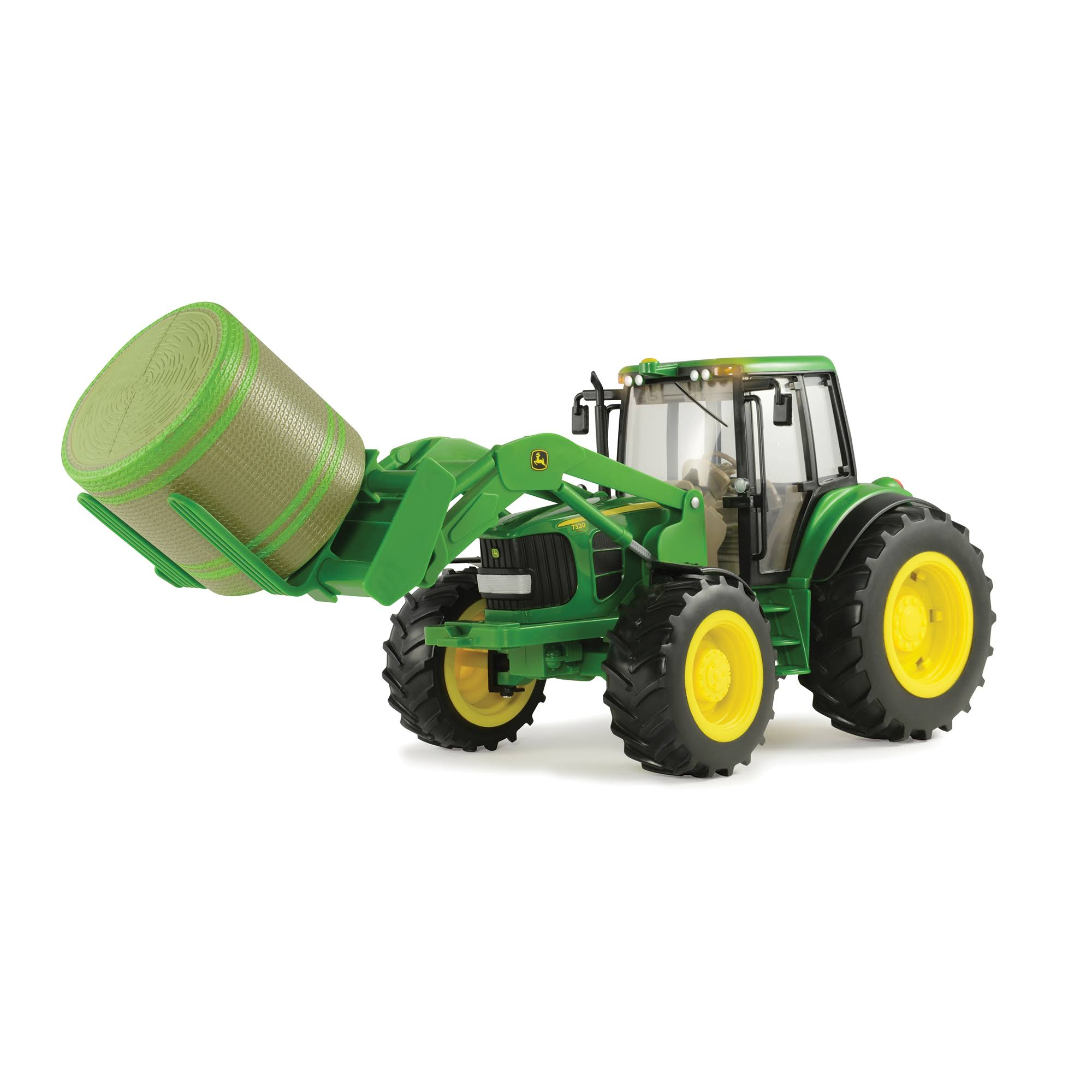 John Deere Big Farm Tractor Model Ground Toy Vehicle - With Mover Round Bale Lights Sounds, Scale 1:16