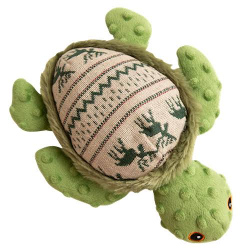 Snugarooz Pet Plush Green Ugly Sweater Print 10'' Holly The Turtle Pet Toy One-Size