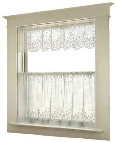 "Heritage Lace 6350W-4224 White Blossom 42"" x 24"" Tier"