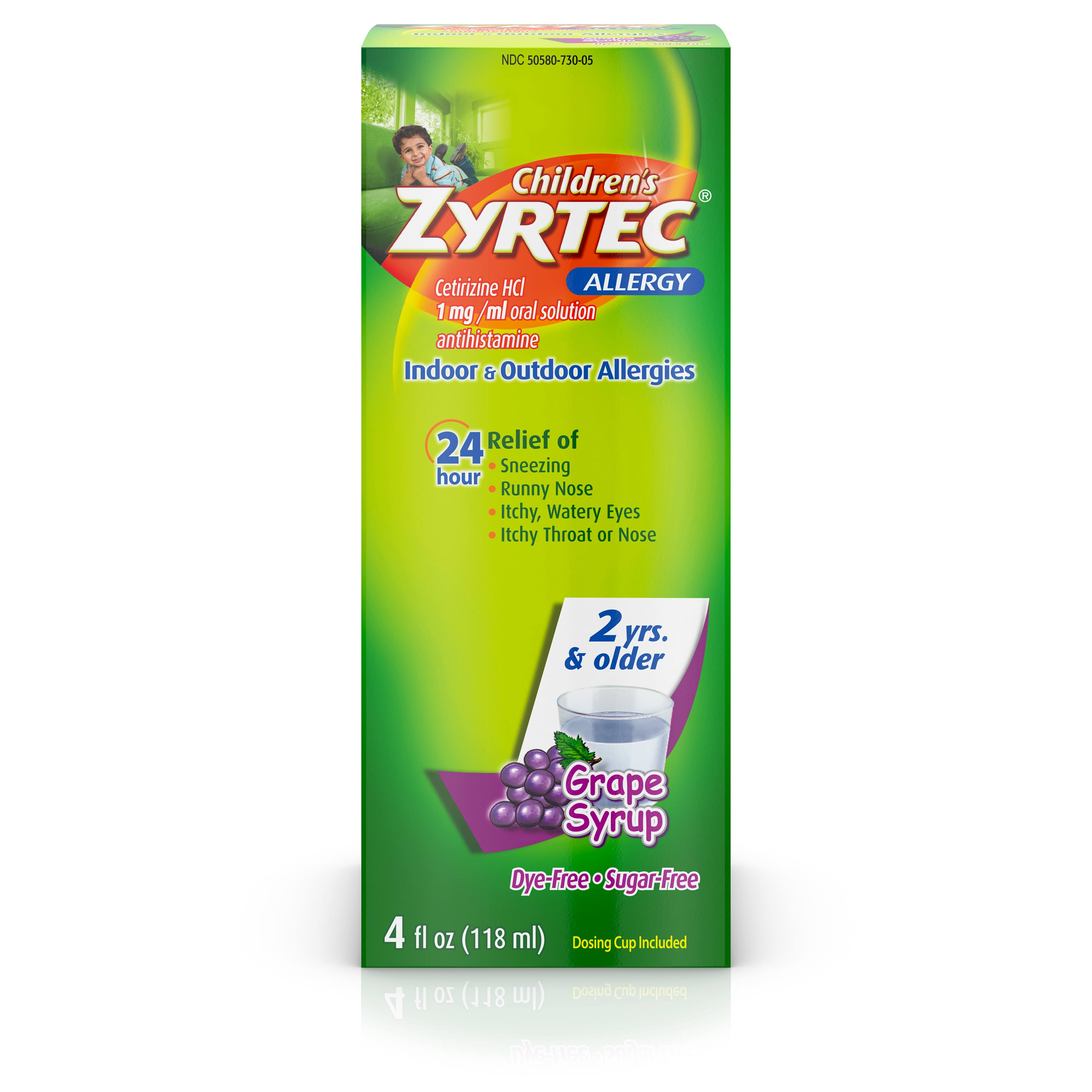 Children's Zyrtec Allergy Syrup - Sugar Grape, 4oz