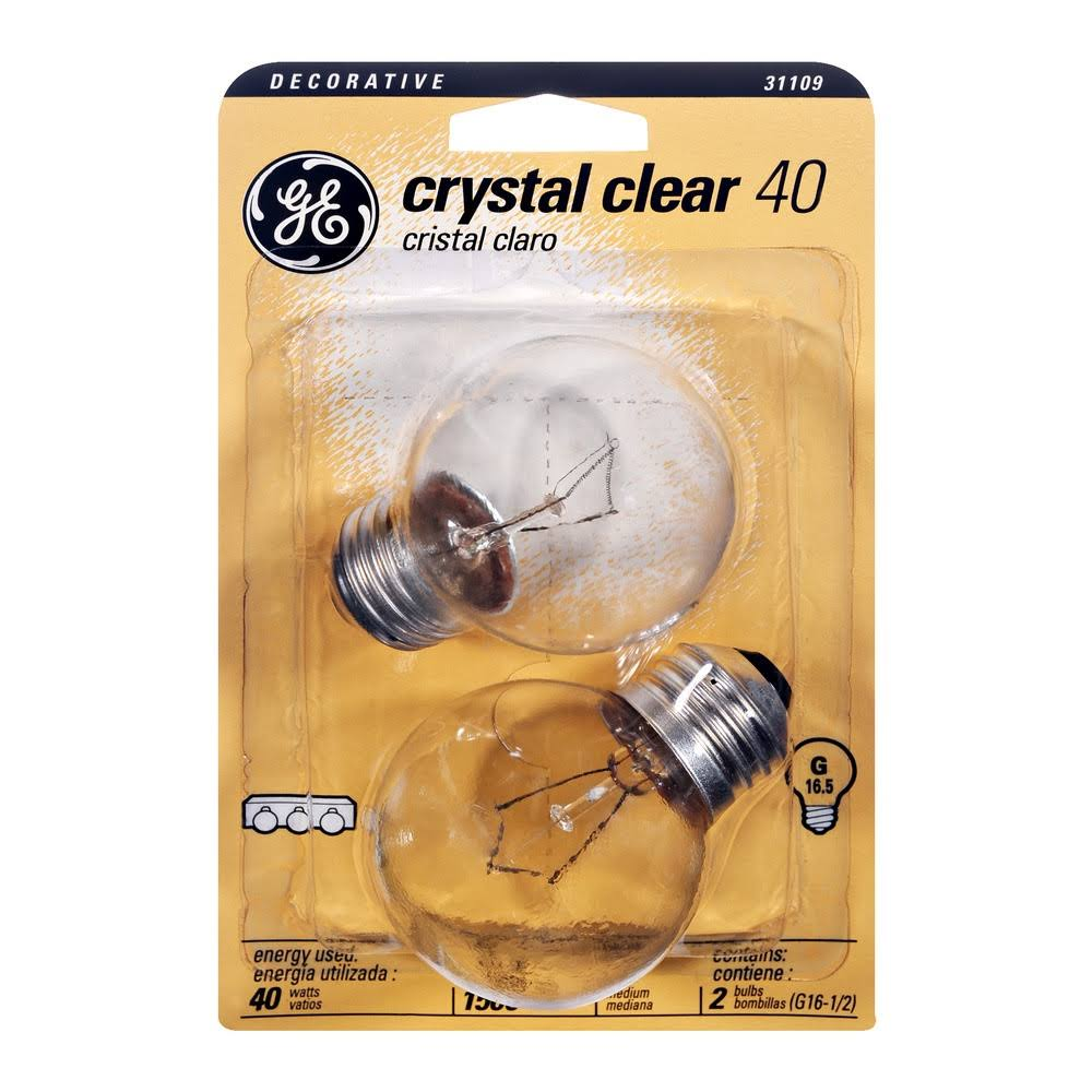 GE G16.5 Light Bulb - Crystal Clear, 2 Pack
