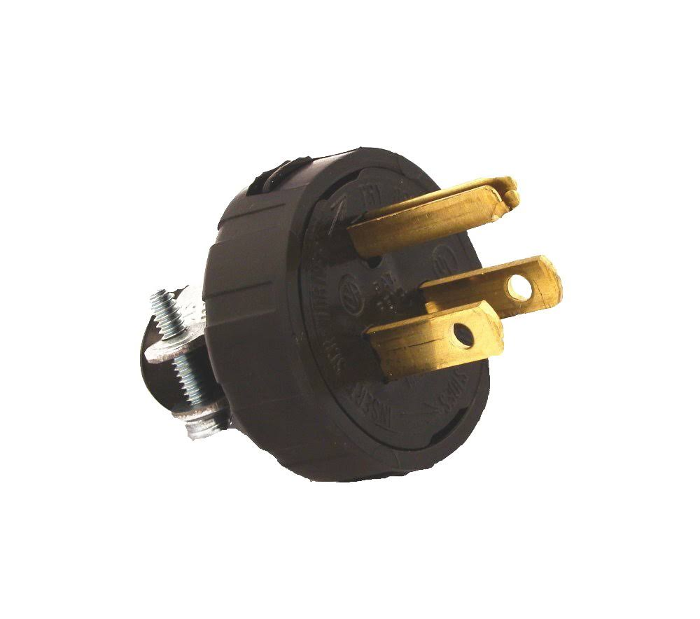 Leviton Straight Blade Grounding Plug - Black, 14Amp