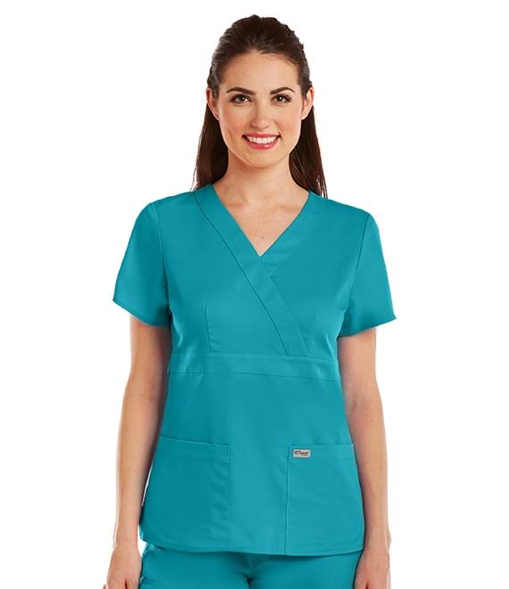 Grey's Anatomy Women's 4153 3 Pocket Mock Wrap Scrub Top, Blue