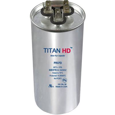 Titan HD Run Capacitor 30+5 MFD 440/370 Volt Round