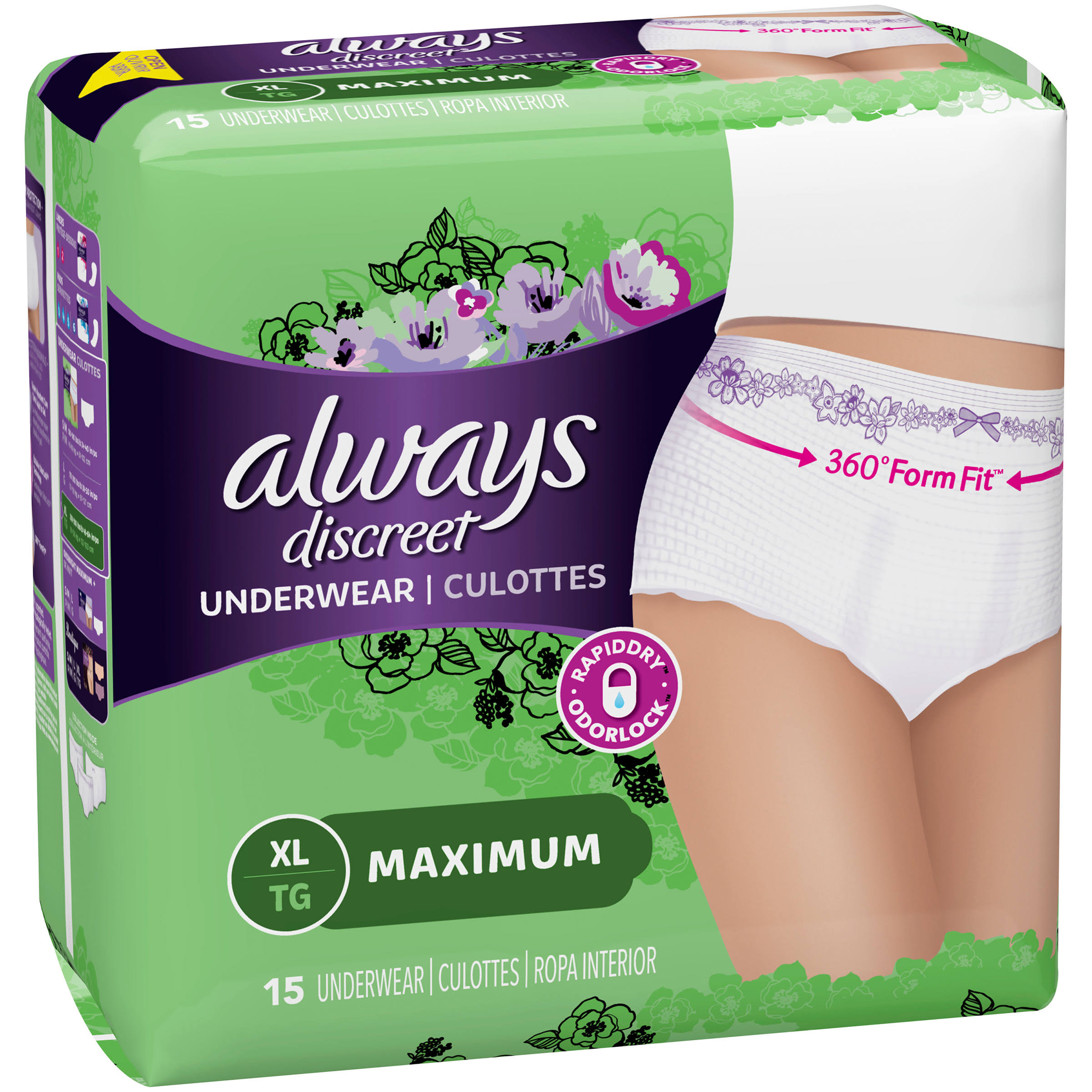 Always Discreet Maximum Classic Cut Underwear - XLarge, 200-300lbs, 15pk