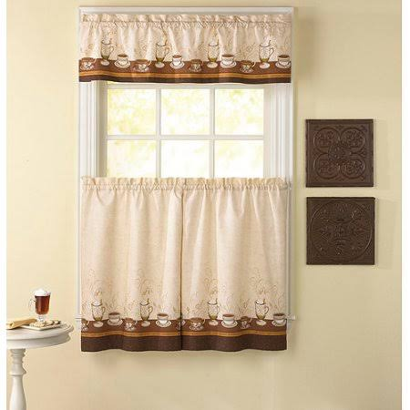 CHF Industries Cafe au Lait 36 in. Kitchen Curtain Set