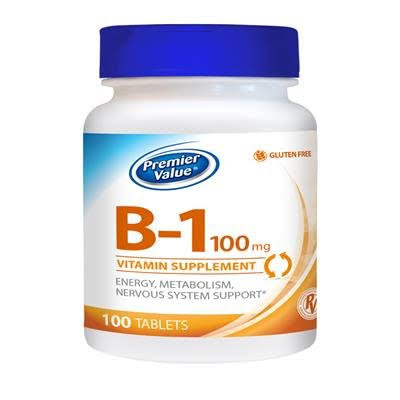 Premier Value B-1 Vitamin Supplement - 100mg Tablets 100 ct. Premier Value.