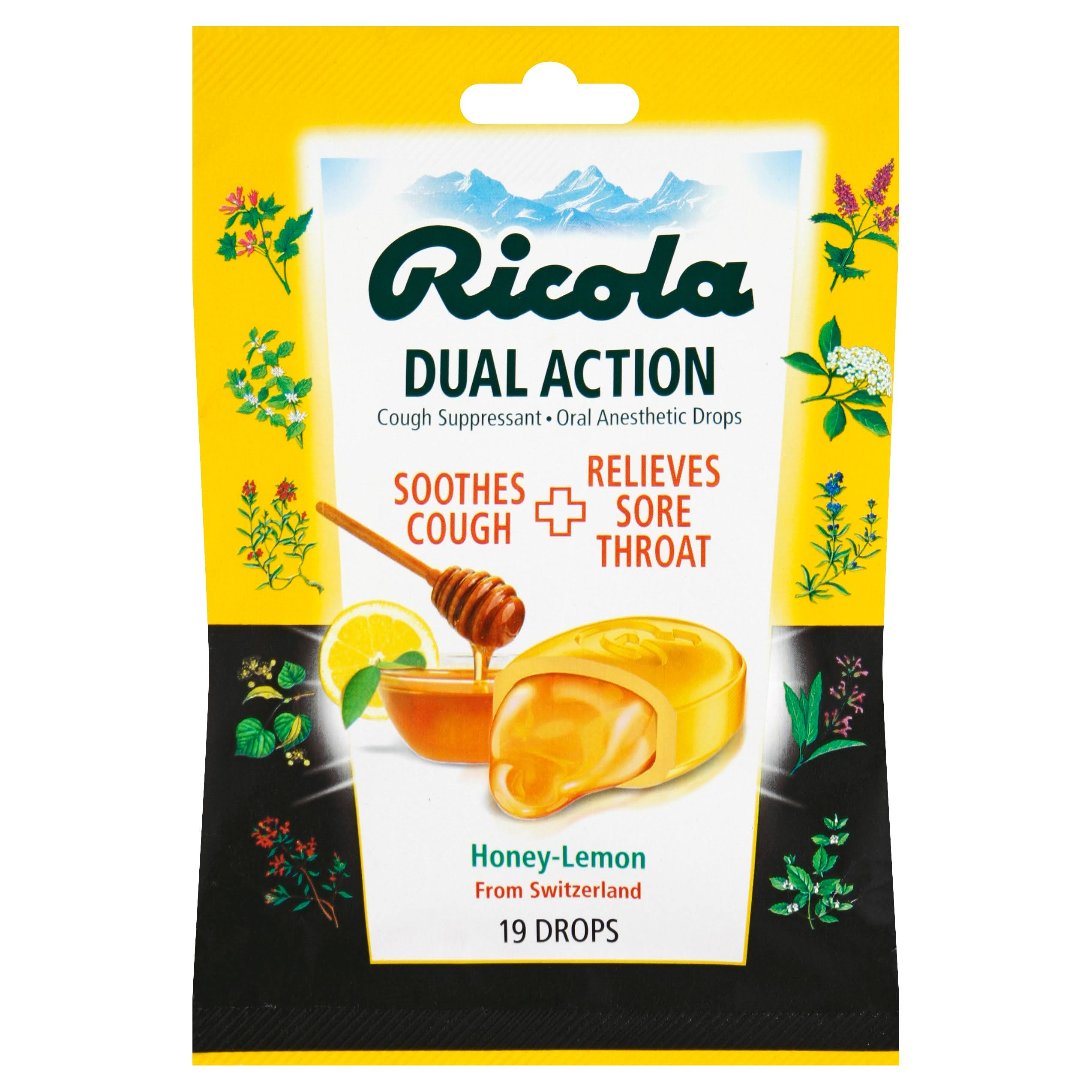 Ricola Soothes Cough Relieves Sore Throat Dual Action Drops - Honey Lemon, 19ct