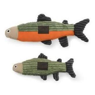 Tall Tails Fish With Squeaker - Sage/Charcoal, 12""