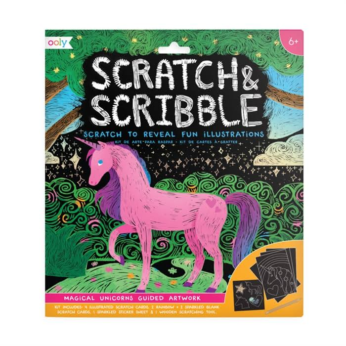 Ooly - Scratch & Scribble Art Kit - Magical Unicorns, Black