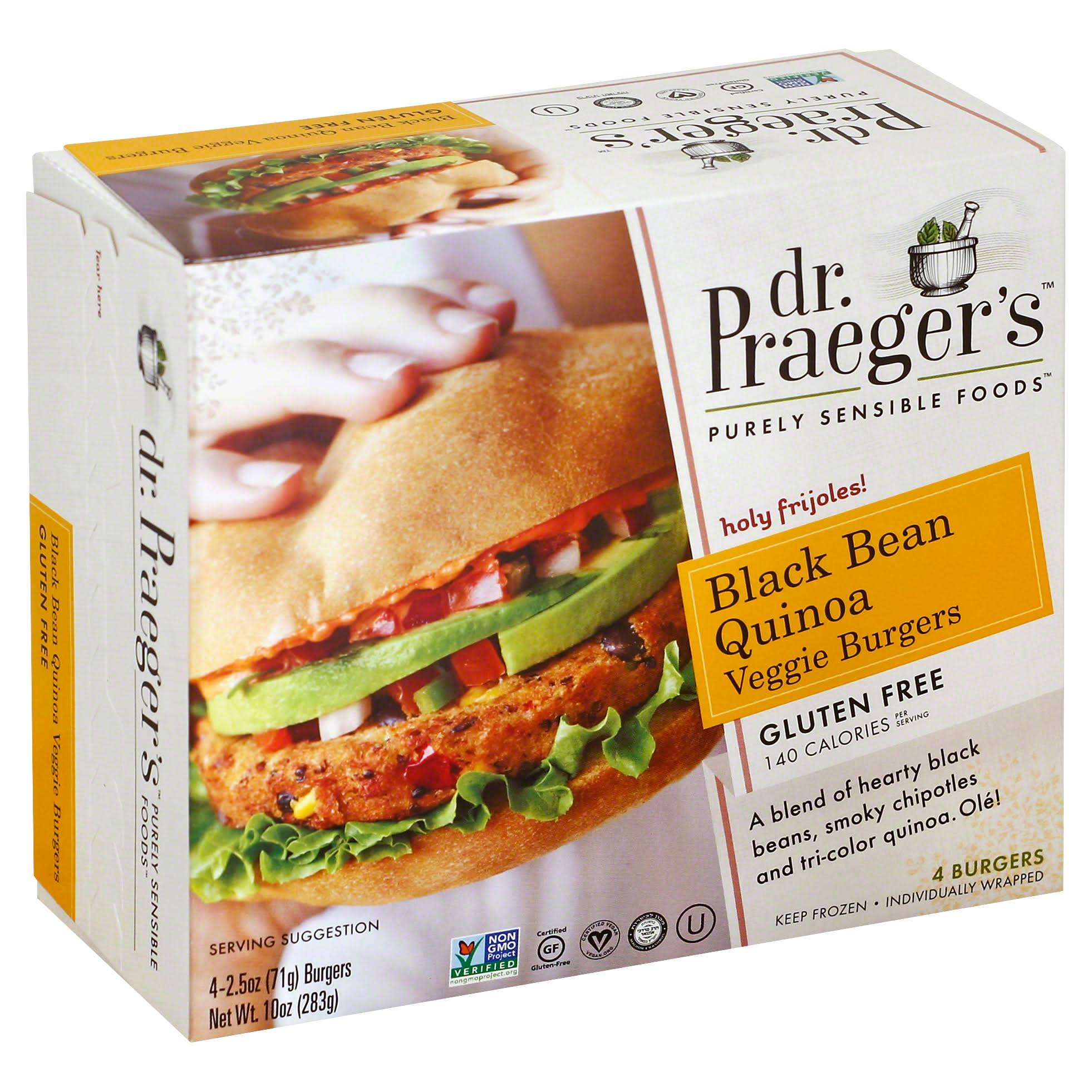 Dr. Praeger's Black Bean Burgers - 4 count, 10 oz box