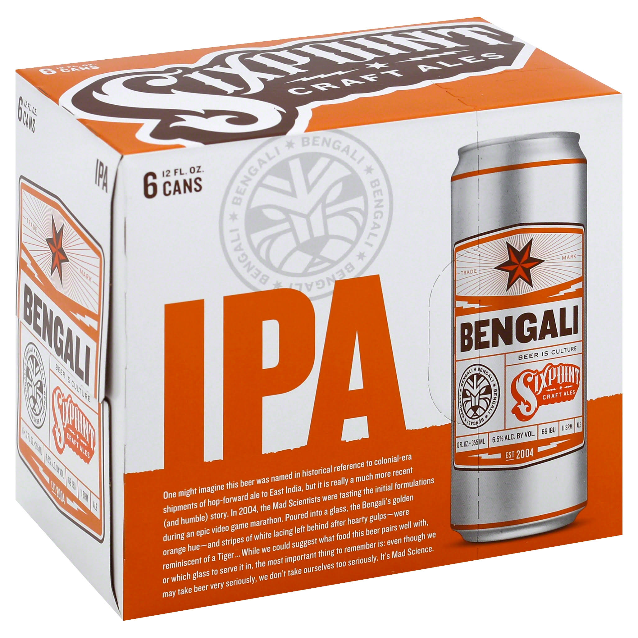 Sixpoint Beer, IPA, Bengali - 6 pack, 12 fl oz cans