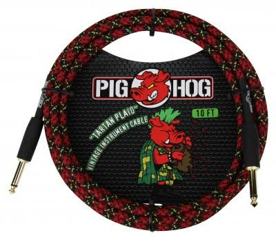 Pig Hog Instrument Cable - 10', Tartan Plaid