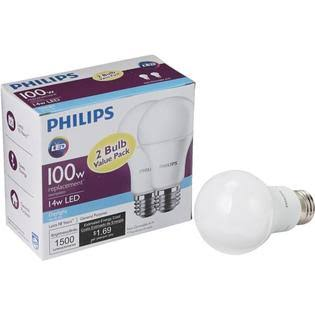 Philips A21 Medium LED Light Bulb - 2pk