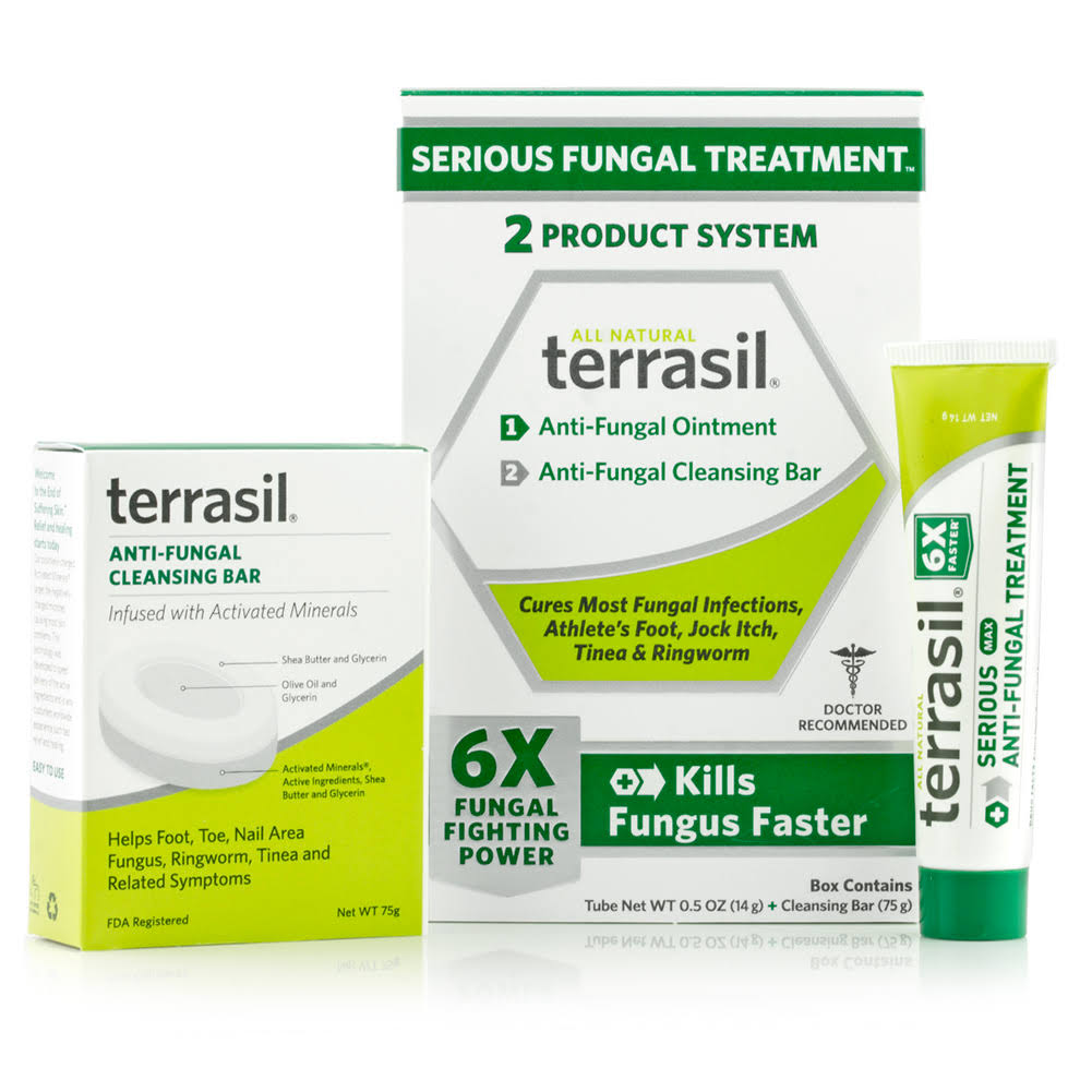 Terrasil Treatment 2 System Anti-fungal Ointment & Cleansing Bar