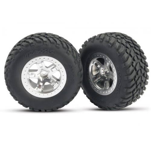 Traxxas TRA SCT Beadlock Wheels and Tires - Chrome, 2pc, Slash 4x4