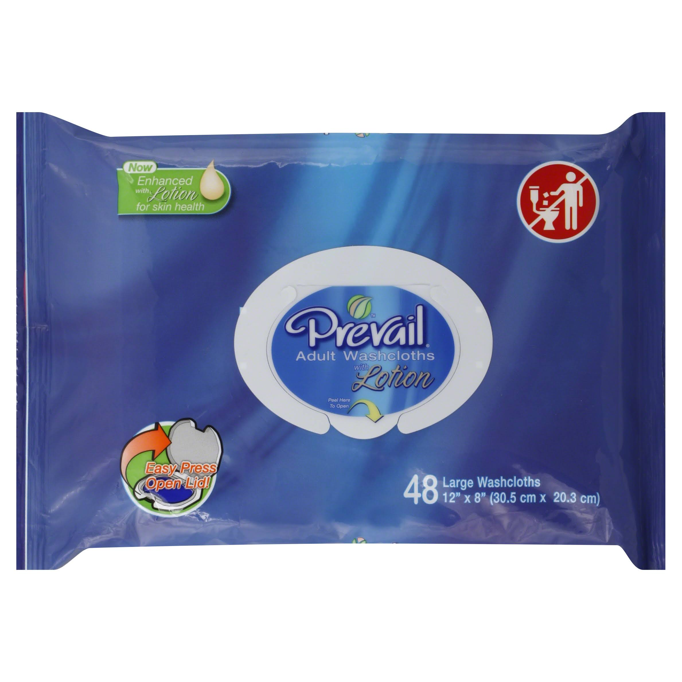 Prevail Adult Washcloth - Soft Pack, 48 Count
