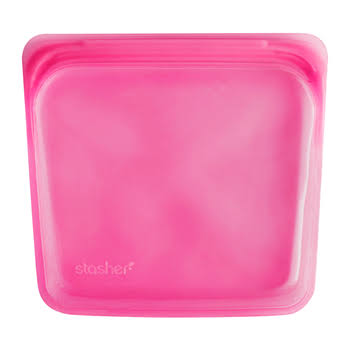 Stasher Reusable Silicone Food Sandwich Bag - Raspberry, 7""
