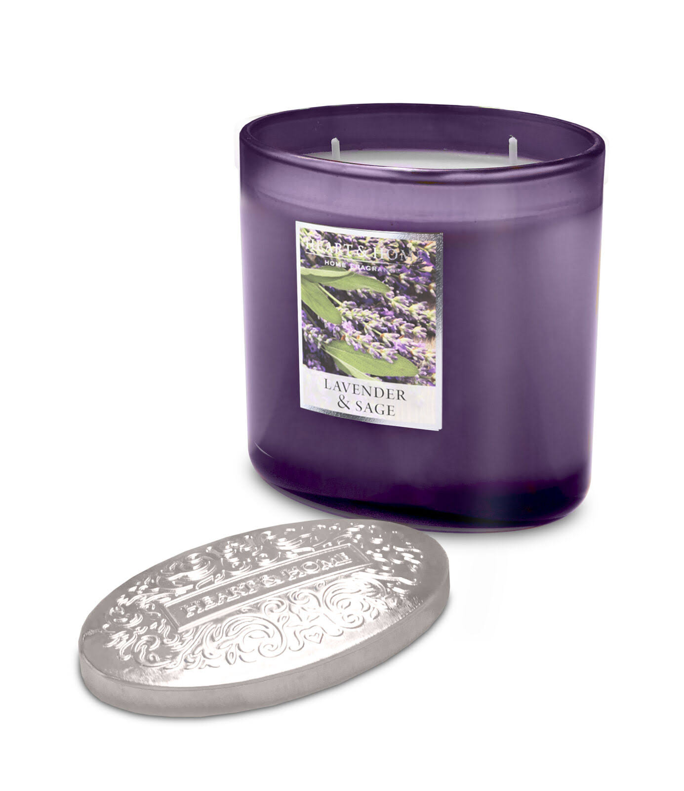 Heart & Home Ellipse Candle, 2 Wick - Lavender & Sage