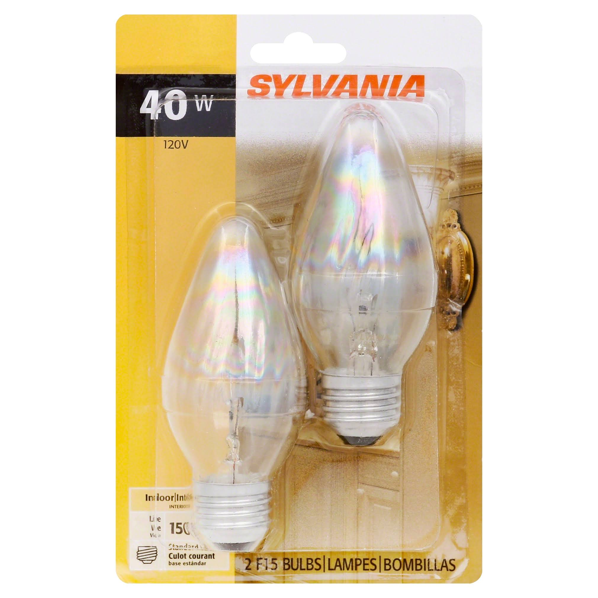 Sylvania Flame Tip Decorative Light Bulb - 40w, 120v, x2