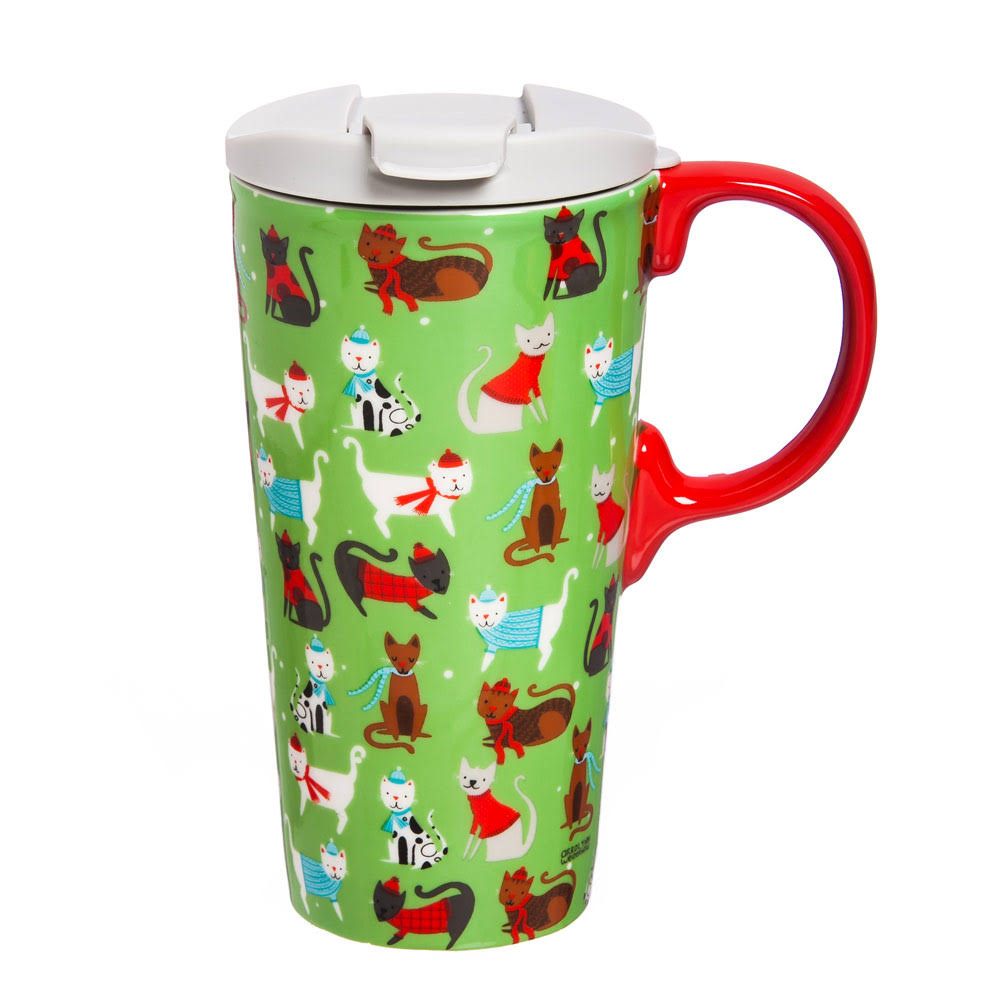 Cypress Home Winter Cheer Cats Ceramic Travel Coffee Mug - 17oz